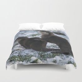 Otters In The Snow Duvet Cover