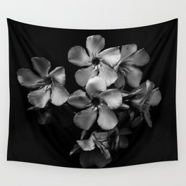 Oleander flowers in black and white Wall Tapestry