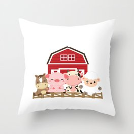Sister Of The Birthday Boy Farming Animals B-day Party product Throw Pillow