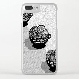 Lo-Maintenance Men & Cacti Black and White Trendy Illustration Clear iPhone Case