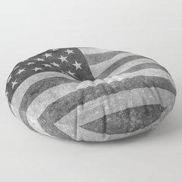 USA flag - Grayscale high quality image Floor Pillow