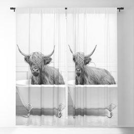 Highland Cow in a Bathtub, Cow Taking a Bath, Cow Bathing, Whimsy Animal Art Print By Synplus Blackout Curtain
