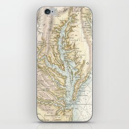 Vintage Map of The Chesapeake Bay(1778) 2 iPhone Skin