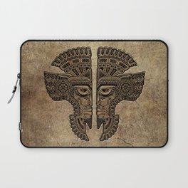 Stone Aztec Twins Mask Illusion Laptop Sleeve