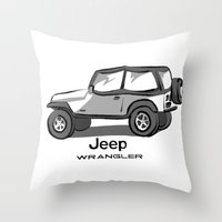 jeep Throw Pillows featuring Jeep by Mister Abigail