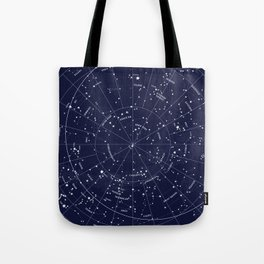 Constellation Map Indigo Tote Bag