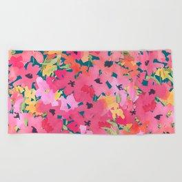 Pink and Peach Garden Beach Towel