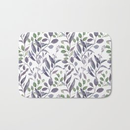 Purple and Green Watercolor Botanicals Bath Mat
