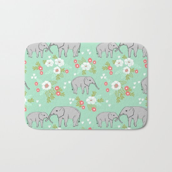 Elephants pattern mint blue with florals cute nursery baby animals lucky gifts Bath Mat