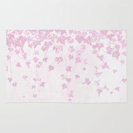 Pretty Soft Pink Trailing Ivy Leaf Print Rug