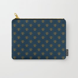 Vintage Midnight Blue and Golden Honey Bee Carry-All Pouch