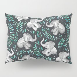 Laughing Baby Elephants – emerald and turquoise Pillow Sham