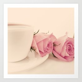 Sweet Coffee and Pink Roses (Retro Still Life Photography)  Art Print