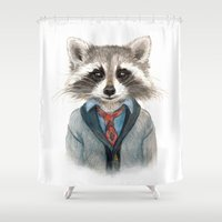 raccoon Shower Curtains featuring Raccoon by Leslie Evans
