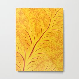 Fall Leaves Abstract Autumn Yellow Orange Gold Leaf Pattern Metal Print