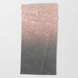 Rose gold glitter ombre grey cement concrete Beach Towel