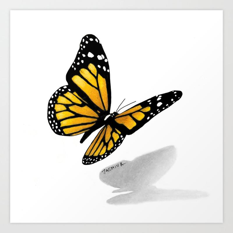 3d butterfly drawing art print