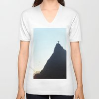 christ V-neck T-shirts featuring Christ Redeemer by Hugo Lopez