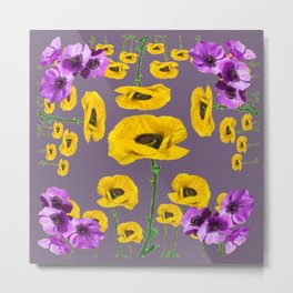 LILAC ANEMONES YELLOW POPPY FLOWERS ON GREY Metal Print