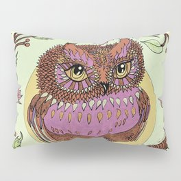 Small Pink Owlet With Wildflower Wreath Pillow Sham