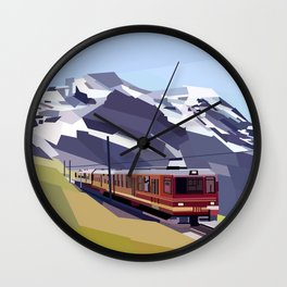Geometric Jungfraujoch railway, Bernese Alps, Switzerland Wall Clock