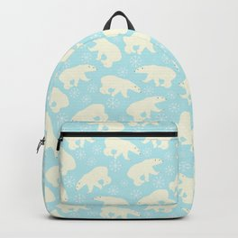 Polar bear pattern on wintry ice aqua background Backpack