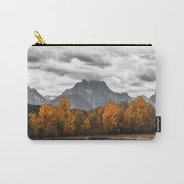 Teton Fall - Autumn Colors and Grand Tetons in Black and White Carry-All Pouch