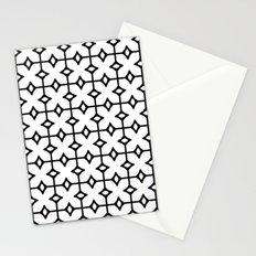 Geometric Monochrome Linoleum Tile Pattern Stationery Cards