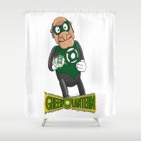 green lantern Shower Curtains featuring Statler the Green Lantern by JoshEssel