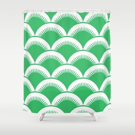 Japanese Fan Pattern Green Shower Curtain
