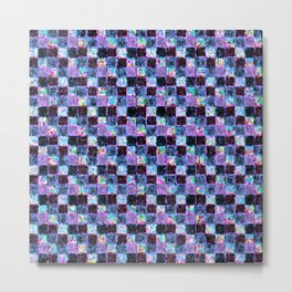 Multicolored Purple and Blue Patchwork Metal Print