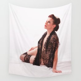 """""""Shawls and Garters"""" - The Playful Pinup - Sexy Lace Classic Pin-up by Maxwell H. Johnson Wall Tapestry"""