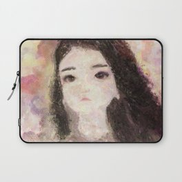 Girl's Portrait with Long Hair Impressionist Painting Laptop Sleeve