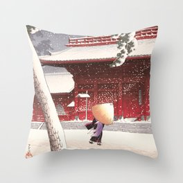 Japanese Art - The Zojo Shrine in Shiba by Kawase Hasui, 1925 Throw Pillow