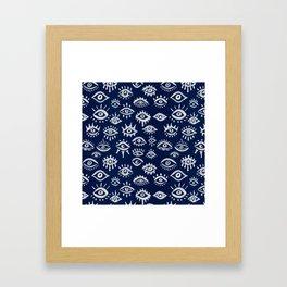Mystic Eyes – White on Navy Framed Art Print