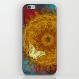Magical fire mandala and gold butterfly iPhone Skin
