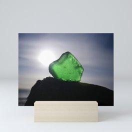 EMERALD GREEN SEA GLASS SUNSET Mini Art Print