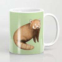 red panda Mugs featuring Red Panda by Sophie Corrigan