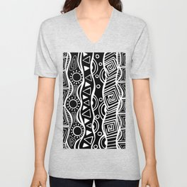Four Waves - Freestyle Tribal Doodle Design - Black Unisex V-Neck