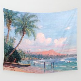 Waikiki Beach, Diamond Head, Oahu landscape painting by D. Howard Hitchcock Wall Tapestry