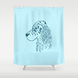 English Setter (Light Blue and Blue) Shower Curtain