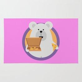 Polar Bear with Pizza in cirlce Rug