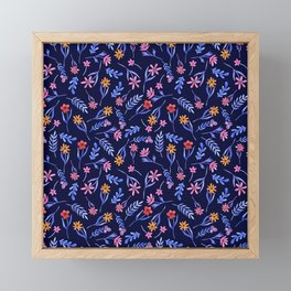 Blue Watercolor Floral Pattern Framed Mini Art Print