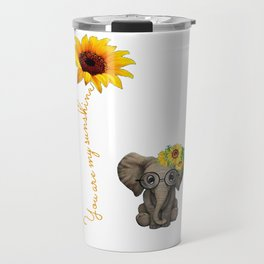 You Are My Sunshine Hippie Sunflower Elephant Travel Mug