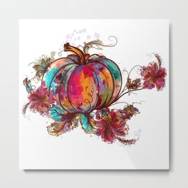 Beautiful watercolor pumpkin design autumn season Metal Print
