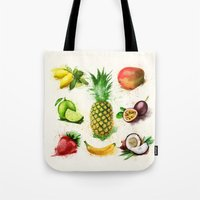 fruits Tote Bags featuring fruits by Zazie-bulles