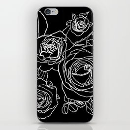 Feminine and Romantic Rose Pattern Line Work Illustration on Black iPhone Skin
