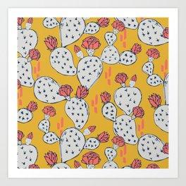 Coral Flowering Cactus on Mustard Yellow Art Print