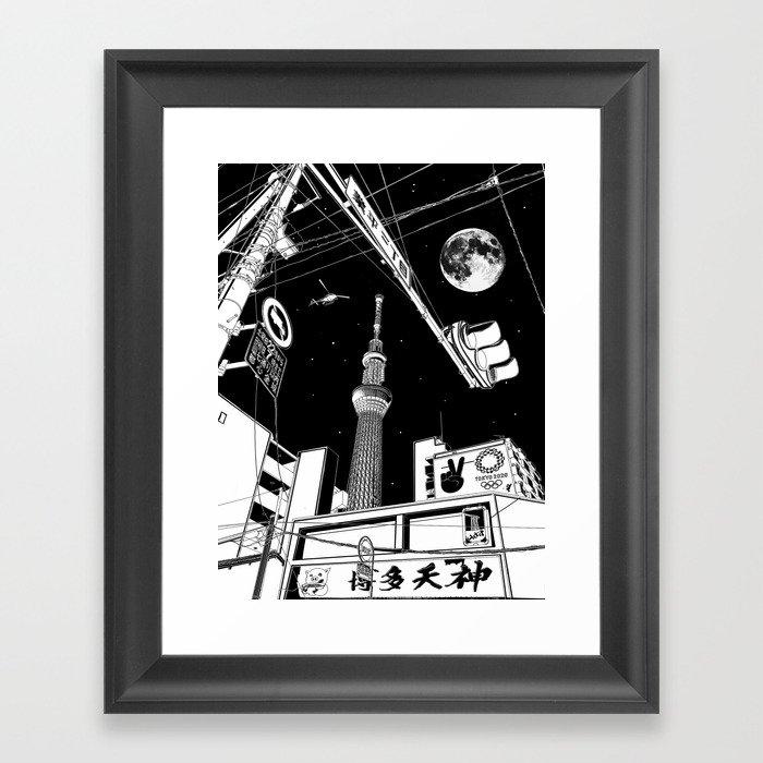 Night in Tokyo 2020 Gerahmter Kunstdruck