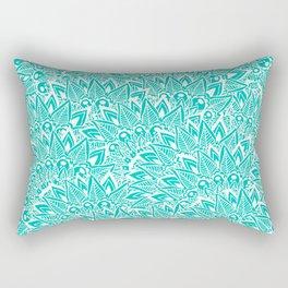 Bright turquoise modern floral paisley mandala Rectangular Pillow